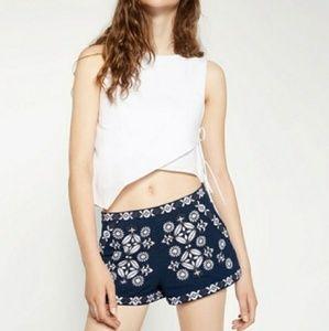 NWT Zara Navy Shorts with Embroidery